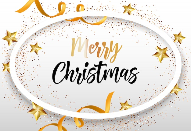 Merry christmas lettering in oval frame
