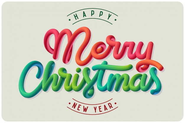 メリークリスマスレタリングポスター