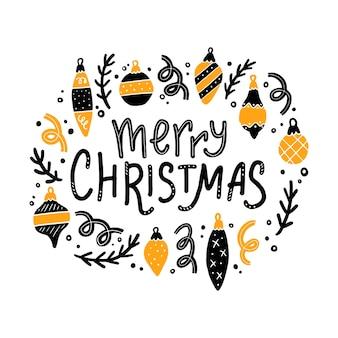 Счастливого рождества надписи цитата украшены рождественскими элементами.