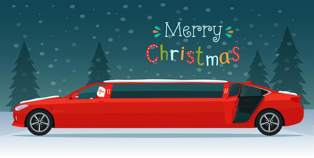 Merry christmas lettering and red limousine with santa claus