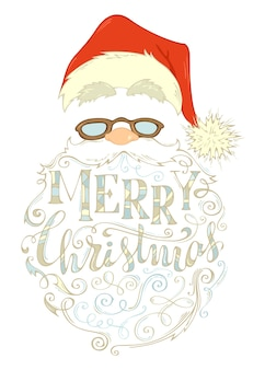 Merry christmas lettering. santa claus face, hat with pompon, glasses and curly beard.