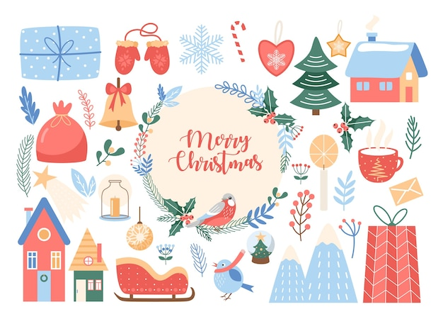 메리 크리스마스 글자를 설정합니다. 동그라미 꽃 화 환에 메리 크리스마스 텍스트