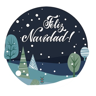 Merry christmas lettering on spanish language. las vegas. elements for invitations, posters, greeting cards. t-shirt design. seasons greetings.