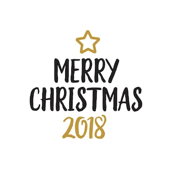 Merry christmas lettering and star