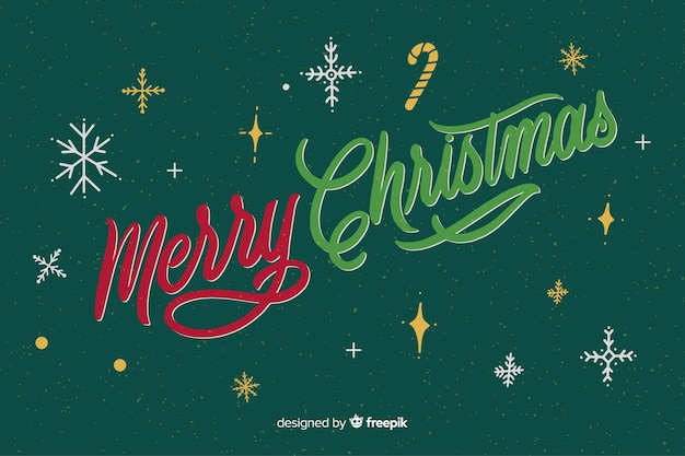 Merry christmas lettering and starry night