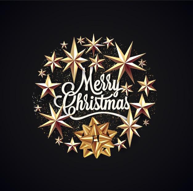 メリークリスマスのレタリングは、挨拶のポスター、カード、チラシ、または黒い背景の招待状のクリスマスの装飾を囲みました