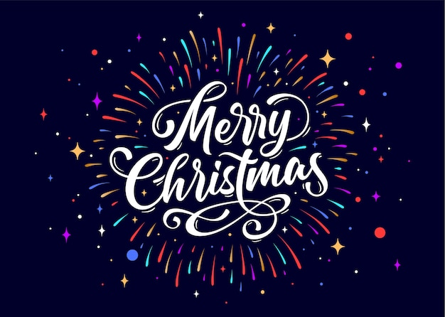 Merry christmas. lettering text for merry christmas. greeting card with script text merry christmas. holiday background with firework, graphic, hand drawn design.