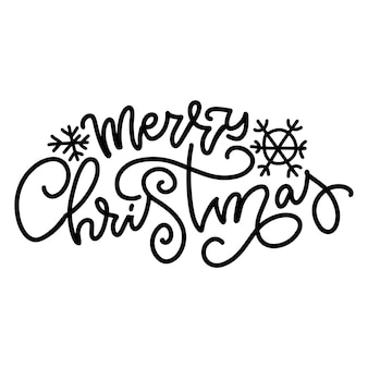 Merry christmas  lettering typography calligraphic hand drawn text overlay design vector vords isola...