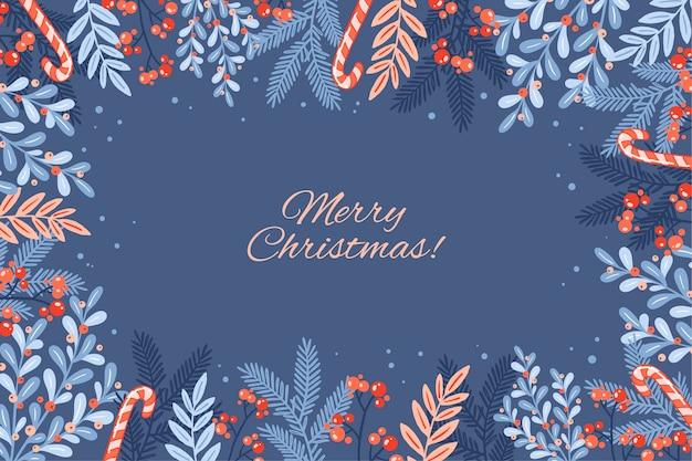 Merry christmas lettering on winter background