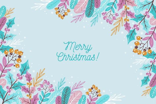 Merry christmas lettering on winter wallpaper