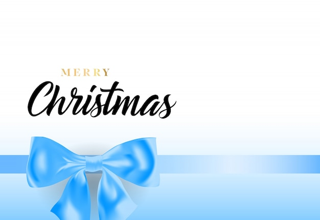 Merry christmas lettering with blue ribbon bow