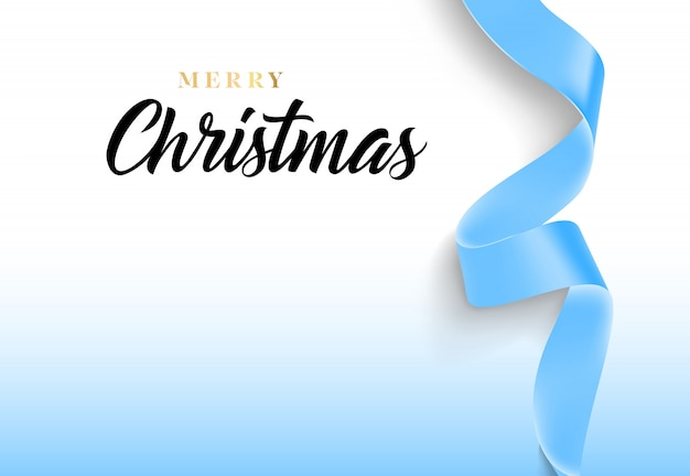 Merry christmas lettering with blue ribbon