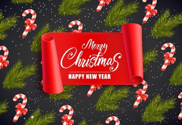 Счастливые рождественские надписи с конфетами