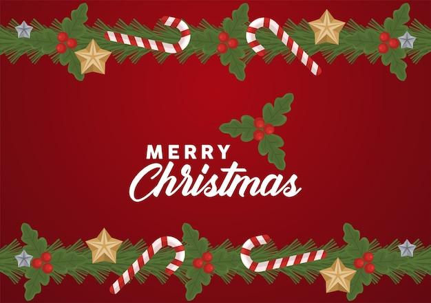 Веселая рождественская надпись с рамкой из тростей и звезд