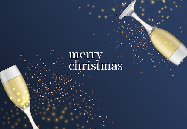 Merry christmas lettering with champagne goblets
