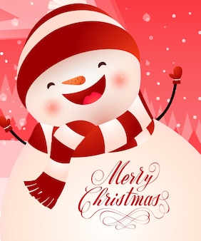 Merry christmas lettering with cheerful snowman