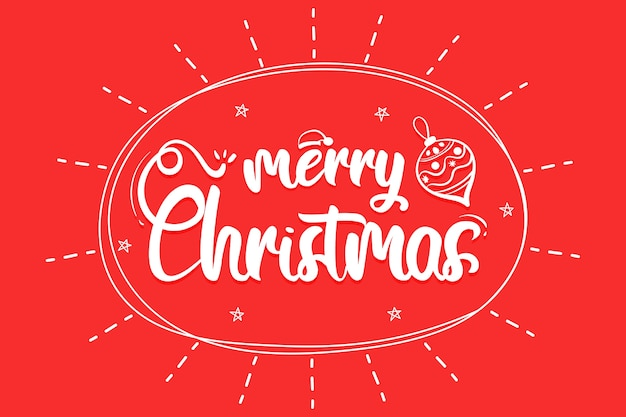 Merry christmas lettering with christmas ball