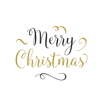 Merry christmas lettering with curls