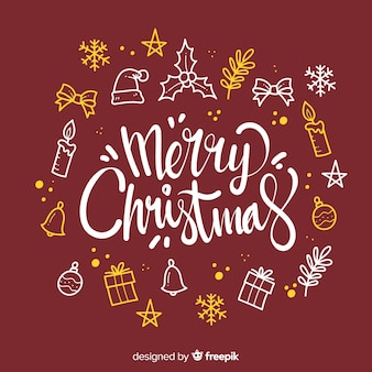 Merry christmas lettering with decoration elements