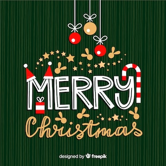 Merry christmas lettering with decorations