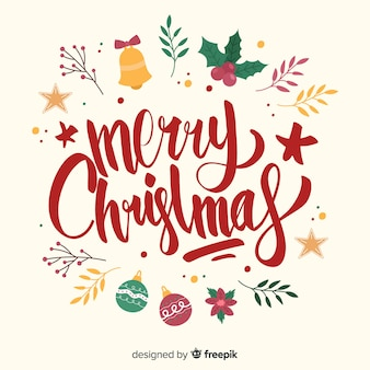Merry christmas lettering with eve decoration