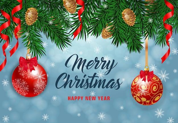 Веселая рождественская надпись с еловыми шишками