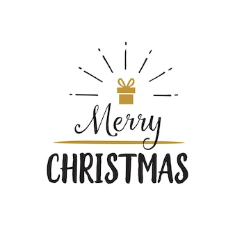 Merry christmas lettering with gift box
