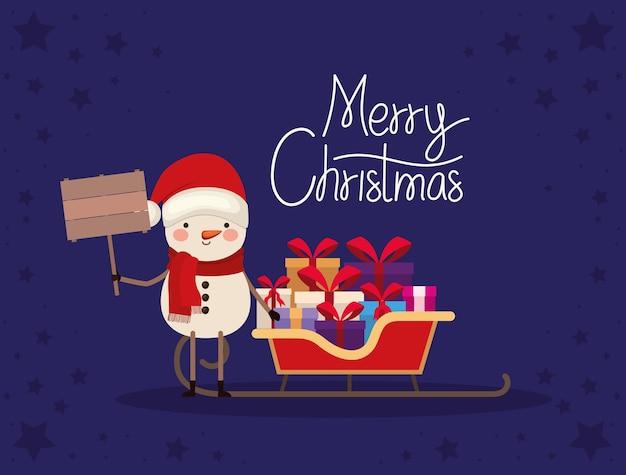 선물 상자와 썰매에 붉은 나비 메리 크리스마스 글자.