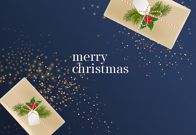 Merry christmas lettering with gift boxes