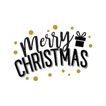 Merry christmas lettering with gift