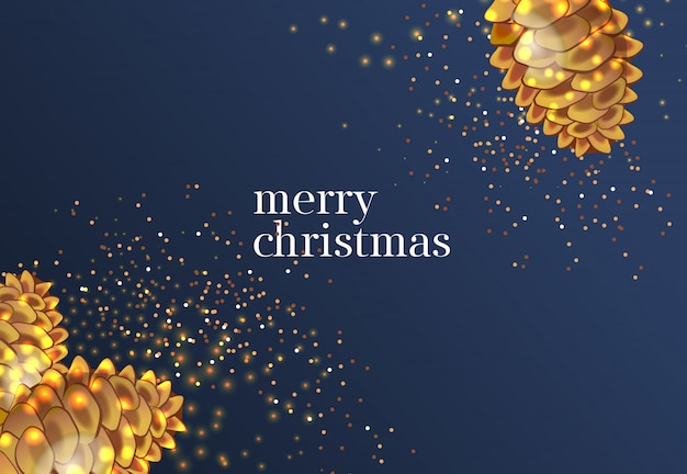 Merry christmas lettering with gold cones