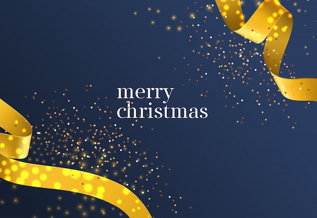 Merry christmas lettering with gold ribbons
