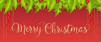 Merry Christmas lettering with mistletoe berries and leaves