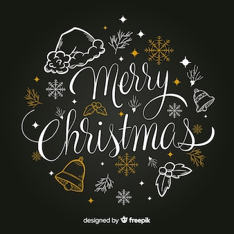 Merry christmas lettering with ornaments