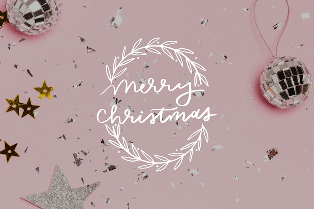 Merry christmas lettering with photo