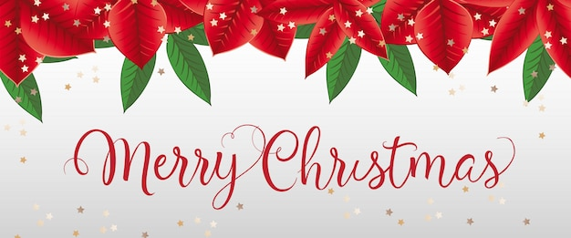 Merry christmas lettering with poinsettia leaves