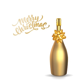 Merry christmas lettering with realistic golden champagne bottle