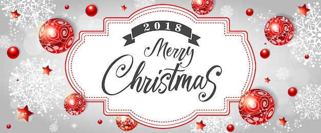 Merry christmas lettering with red decor