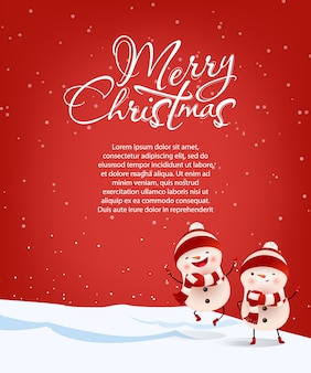Merry christmas lettering with sample text and snowmen