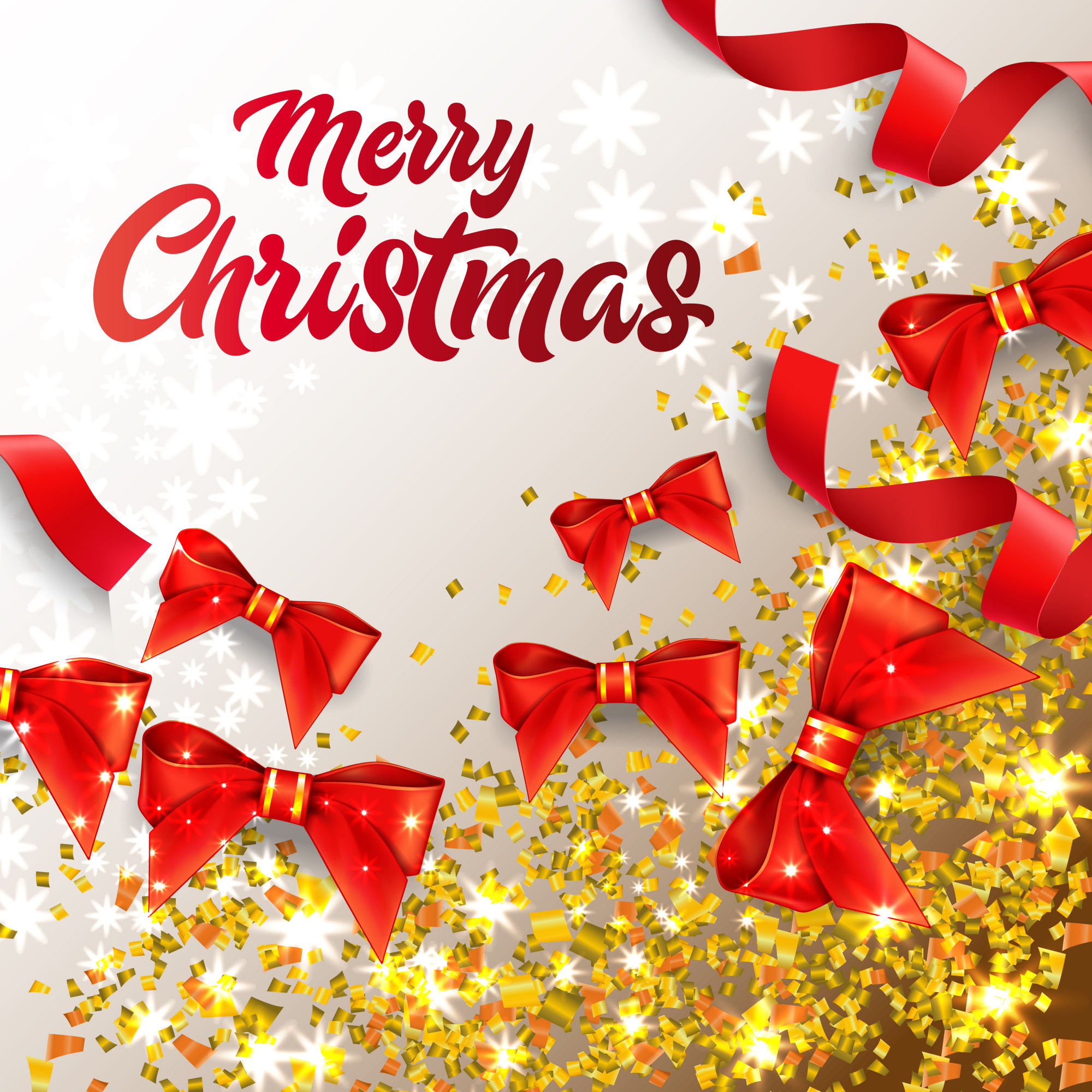 Merry Christmas lettering with shining confetti and red bows