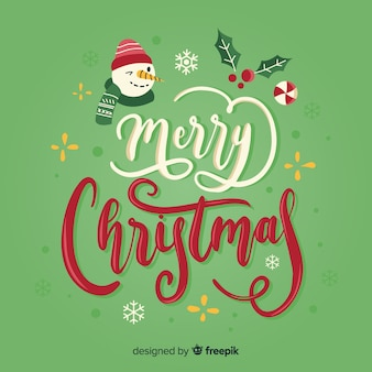 Merry christmas lettering with snowman