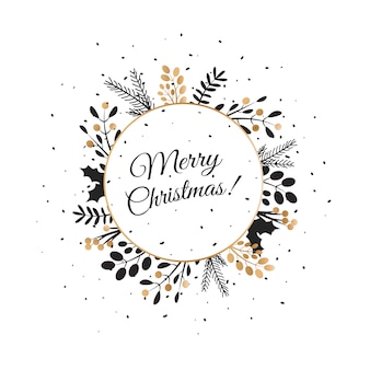 Merry christmas lettering with wreath decoration of leaves. merry christmas  text .