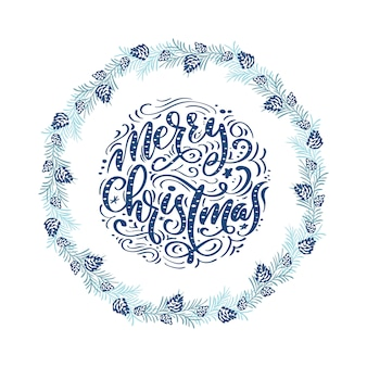 Merry christmas lettering with wreath in scandinavian style