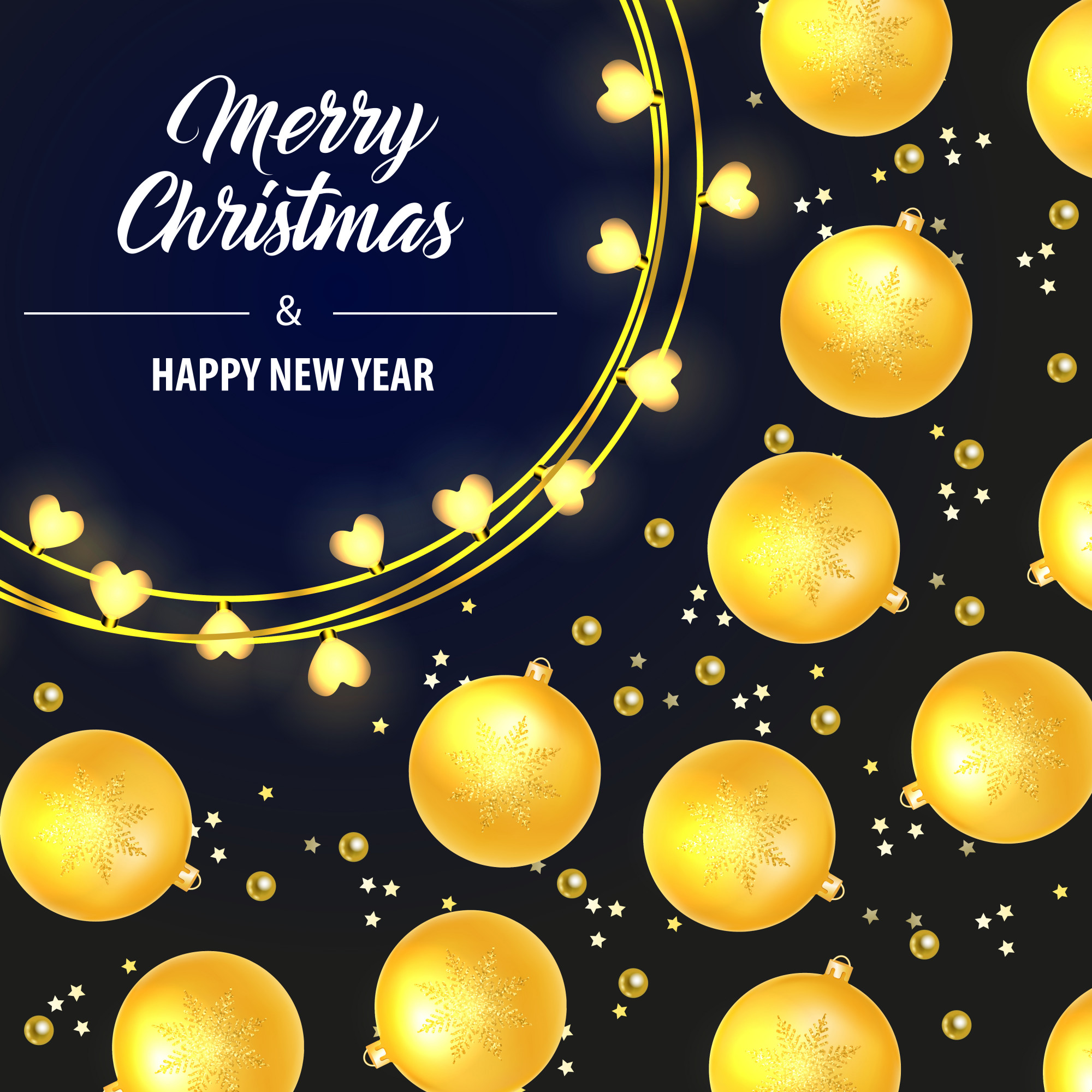 Merry Christmas lettering with yellow baubles
