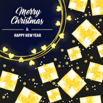 Merry christmas lettering with yellow gift boxes