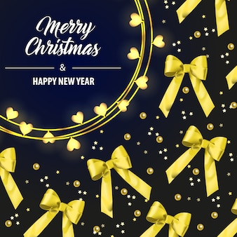 Merry christmas lettering with yellow ribbon bows