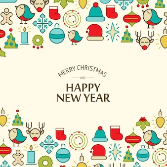 Merry christmas light celebrating background with greeting text and colorful christmas elements vector illustration