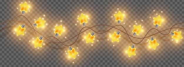 메리 크리스마스 빛 갈 랜드 벡터 밝은 별 램프 문자열 휴일 축제 광선 장식