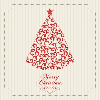 Merry christmas  over lineal background  vector illustration