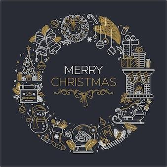 Счастливого рождества линейная иллюстрация с толстыми линиями меловых контуров символов, расположенных по кругу